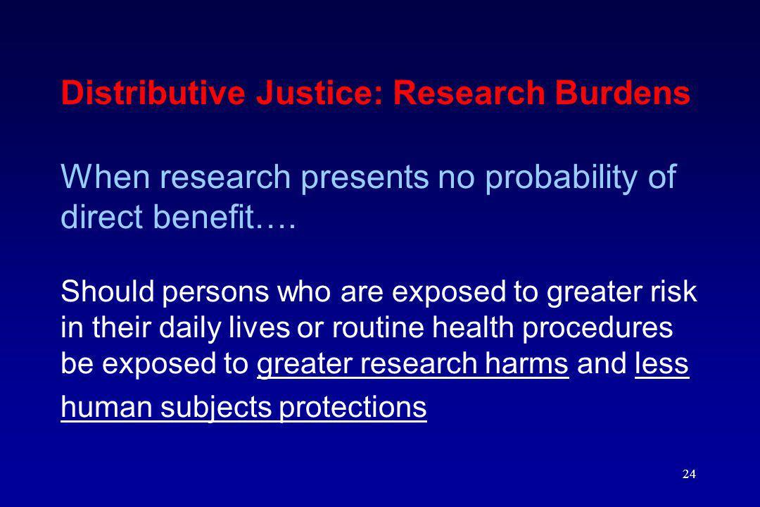 Distributive Justice: Research Burdens