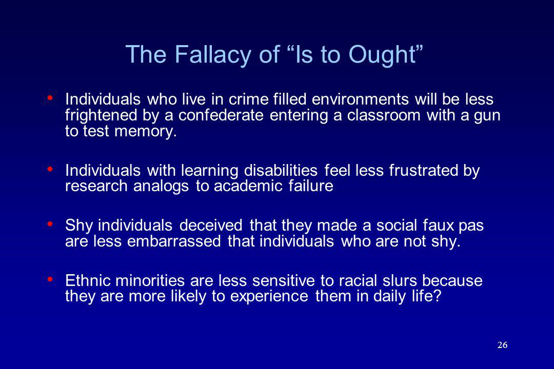 The Fallacy of Is to Ought