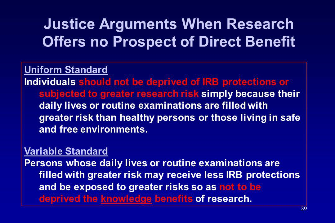 Justice Arguments When Research Offers no Prospect of Direct Benefit