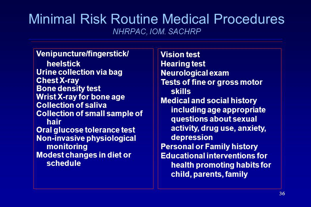 Minimal Risk Routine Medical Procedures NHRPAC, IOM. SACHRP