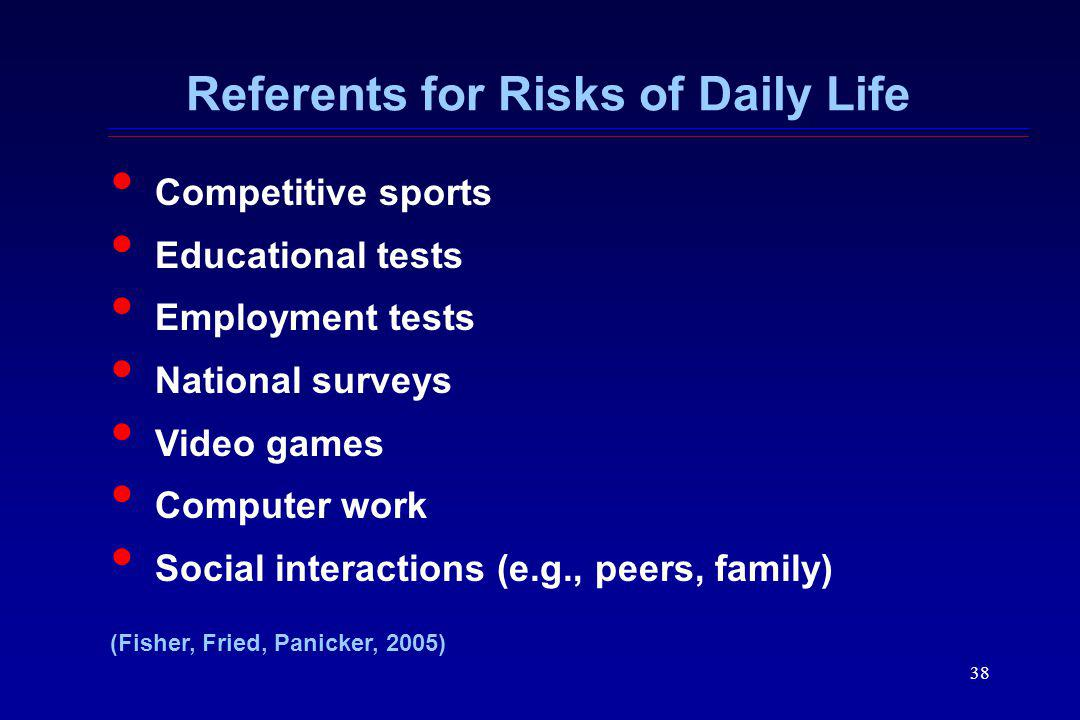 Referents for Risks of Daily Life