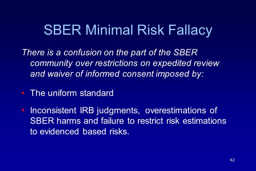 SBER Minimal Risk Fallacy