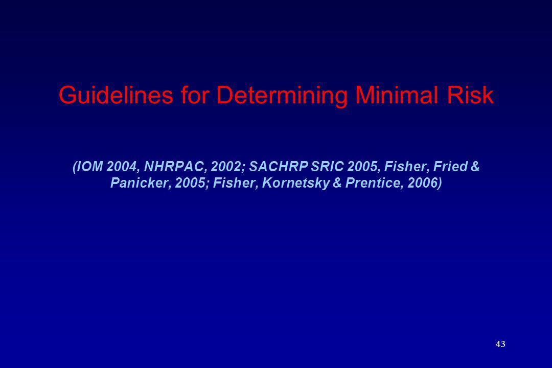 Guidelines for Determining Minimal Risk (IOM 2004, NHRPAC, 2002; SACHRP SRIC 2005, Fisher, Fried & Panicker, 2005; Fisher, Kornetsky & Prentice, 2006)