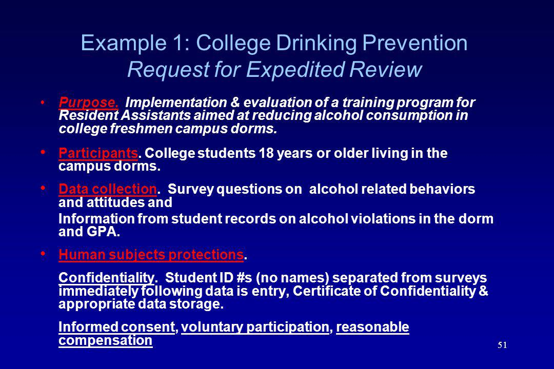 Example 1: College Drinking Prevention Request for Expedited Review