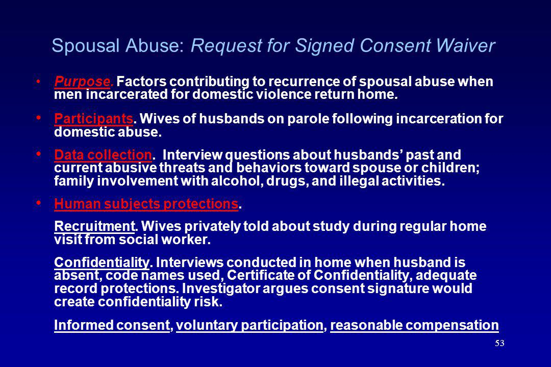 Spousal Abuse: Request for Signed Consent Waiver
