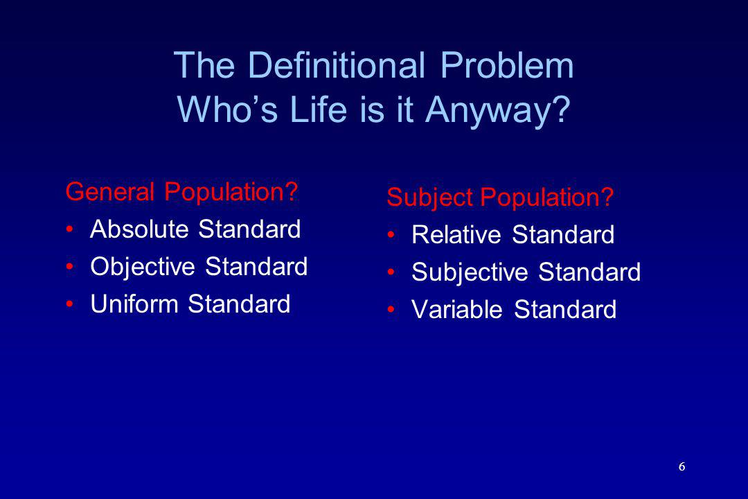 The Definitional Problem Who's Life is it Anyway