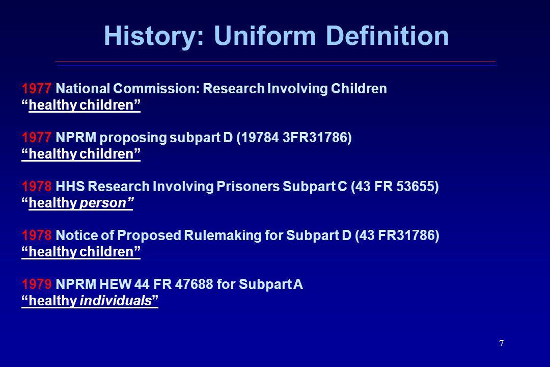 History: Uniform Definition