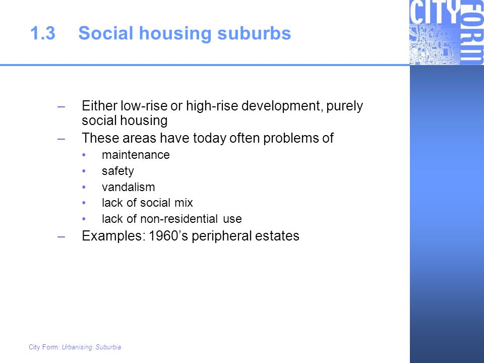 1.3 Social housing suburbs