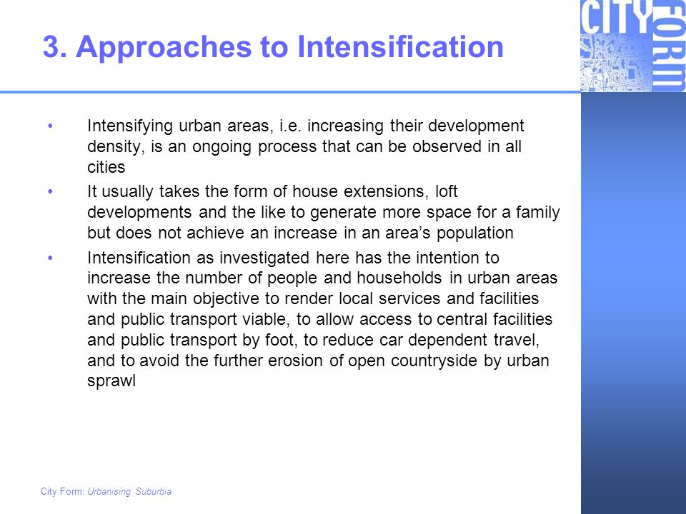 3. Approaches to Intensification