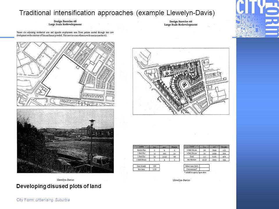 Traditional intensification approaches (example Llewelyn-Davis)