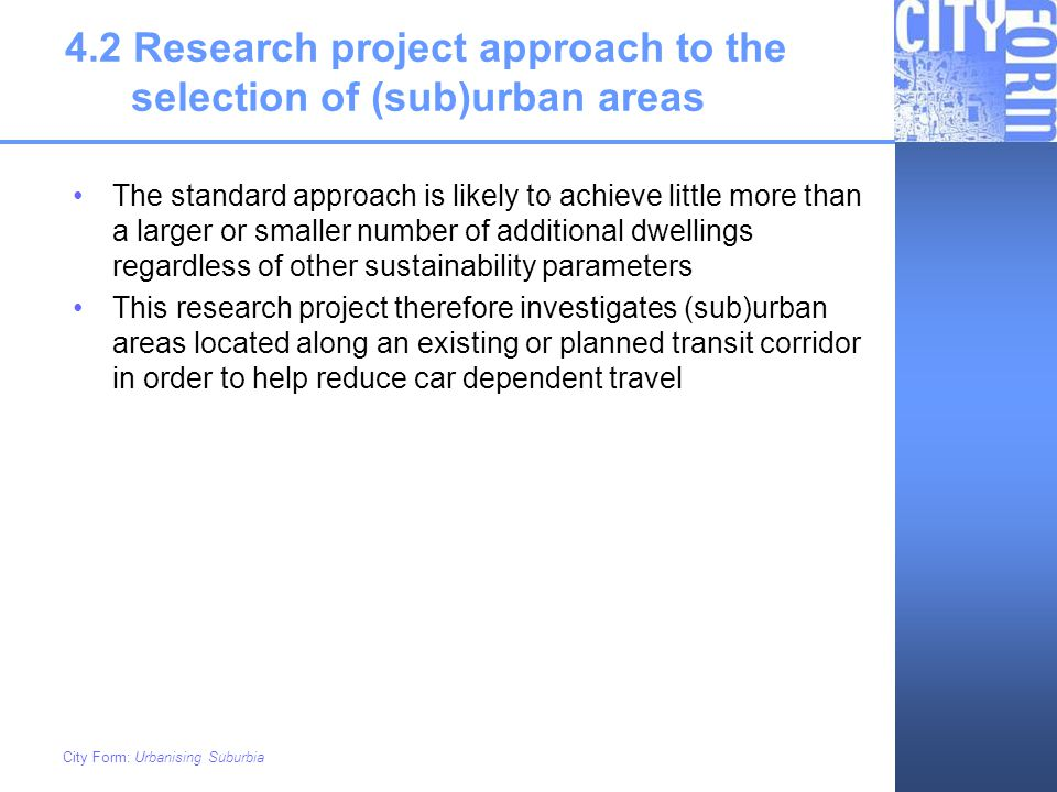 4.2 Research project approach to the selection of (sub)urban areas