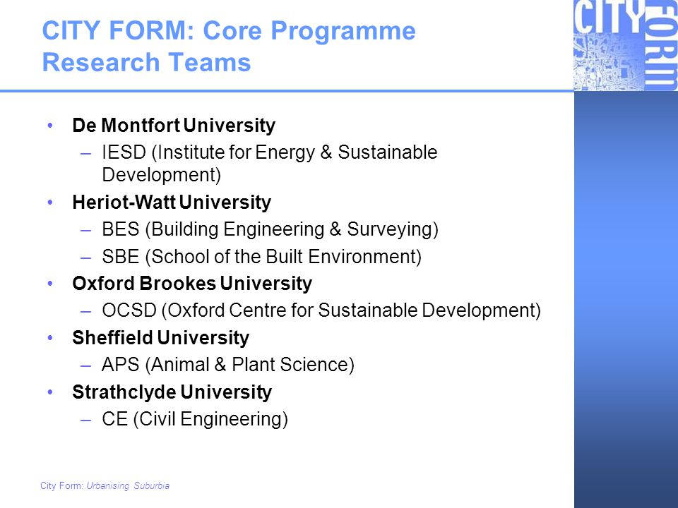 CITY FORM: Core Programme Research Teams