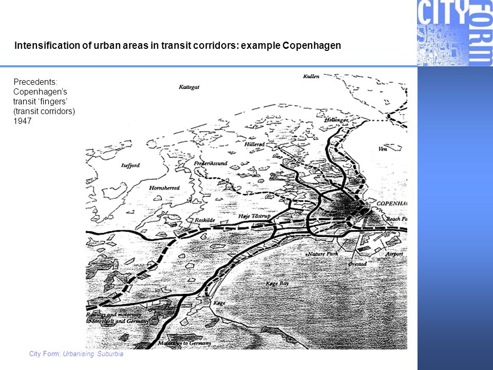Intensification of urban areas in transit corridors: example Copenhagen