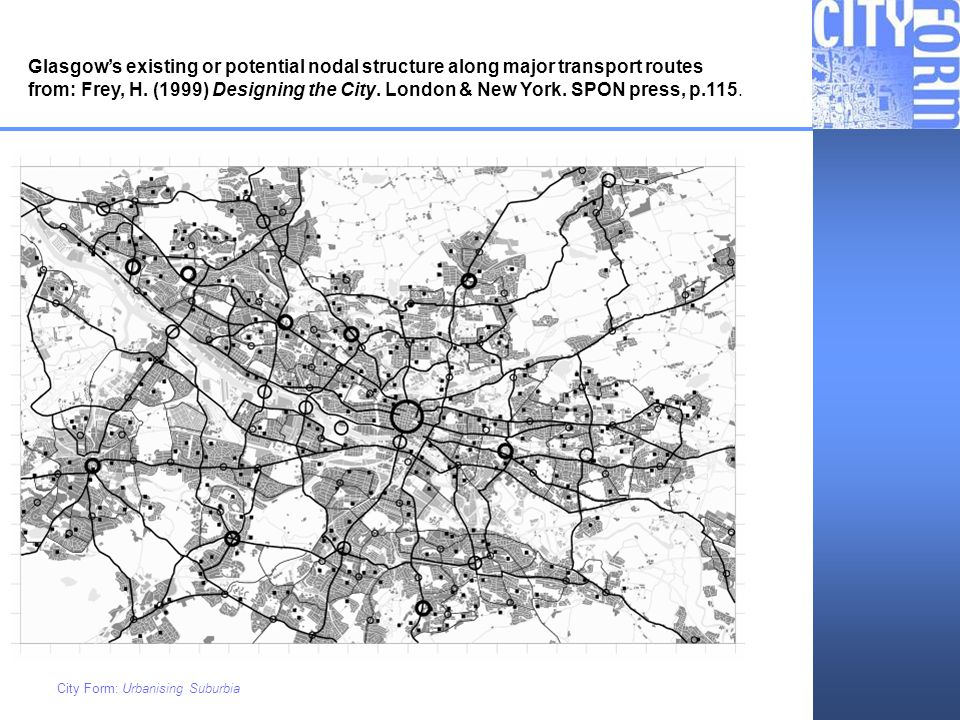 Glasgow's existing or potential nodal structure along major transport routes