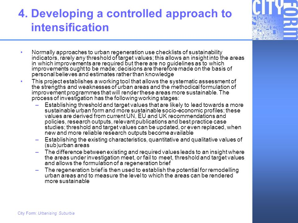 4. Developing a controlled approach to intensification
