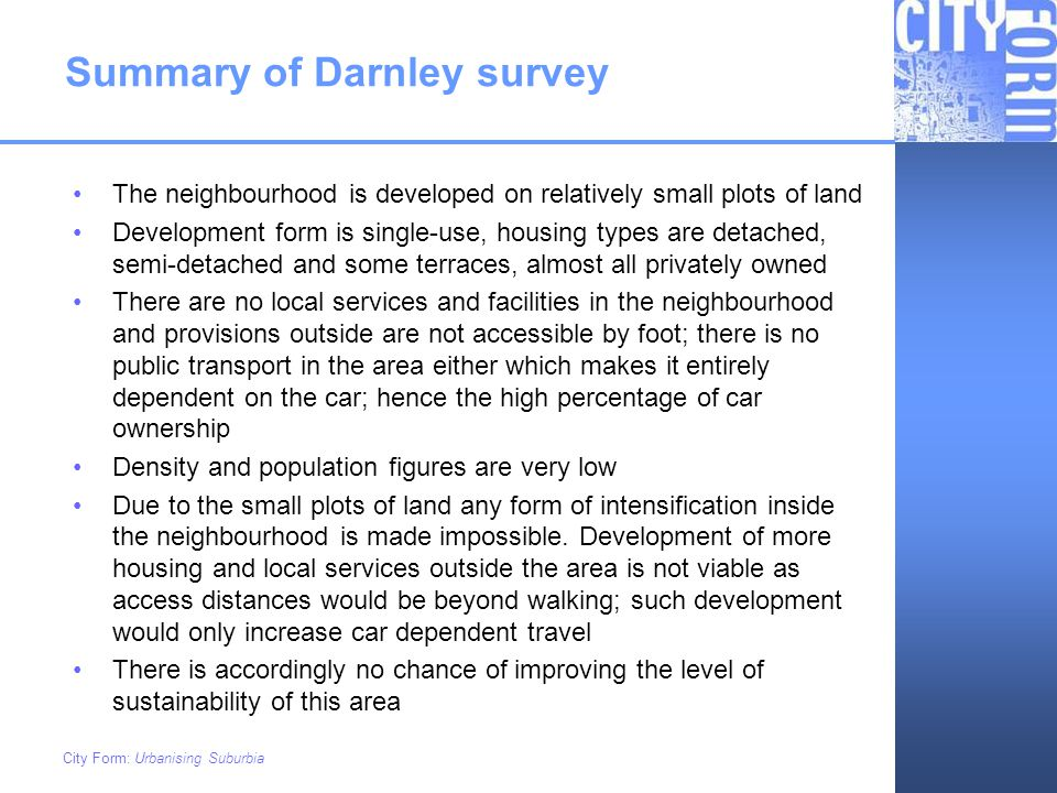 Summary of Darnley survey