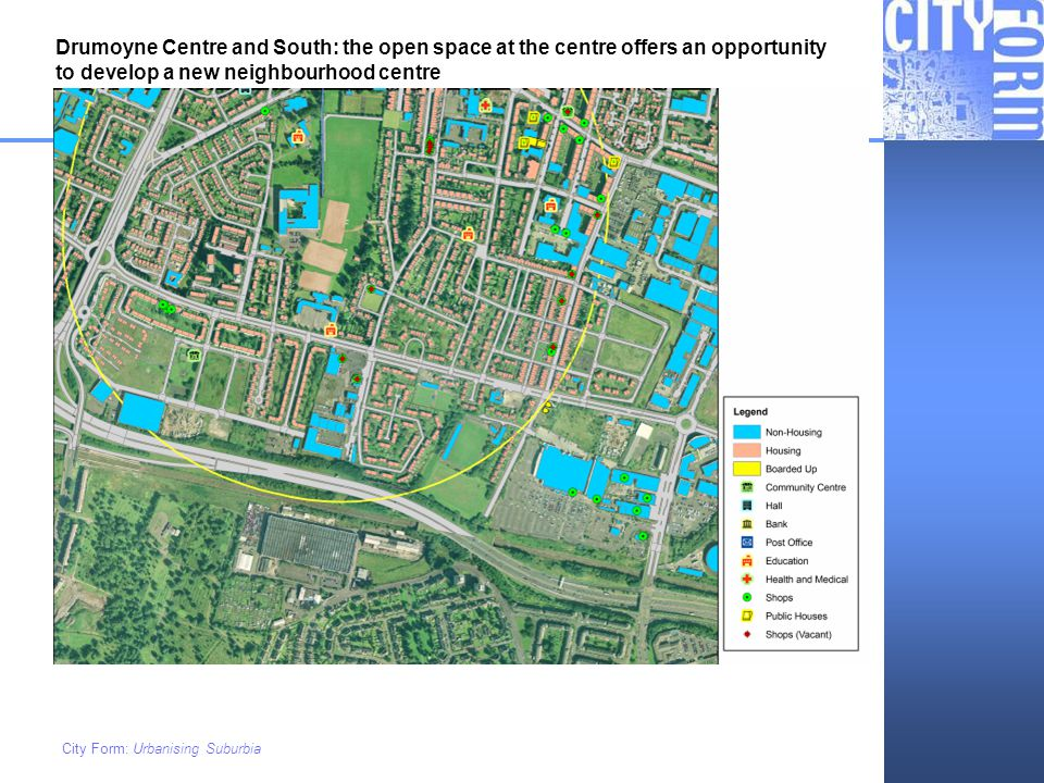 Drumoyne Centre and South: the open space at the centre offers an opportunity