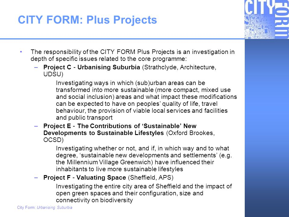 CITY FORM: Plus Projects