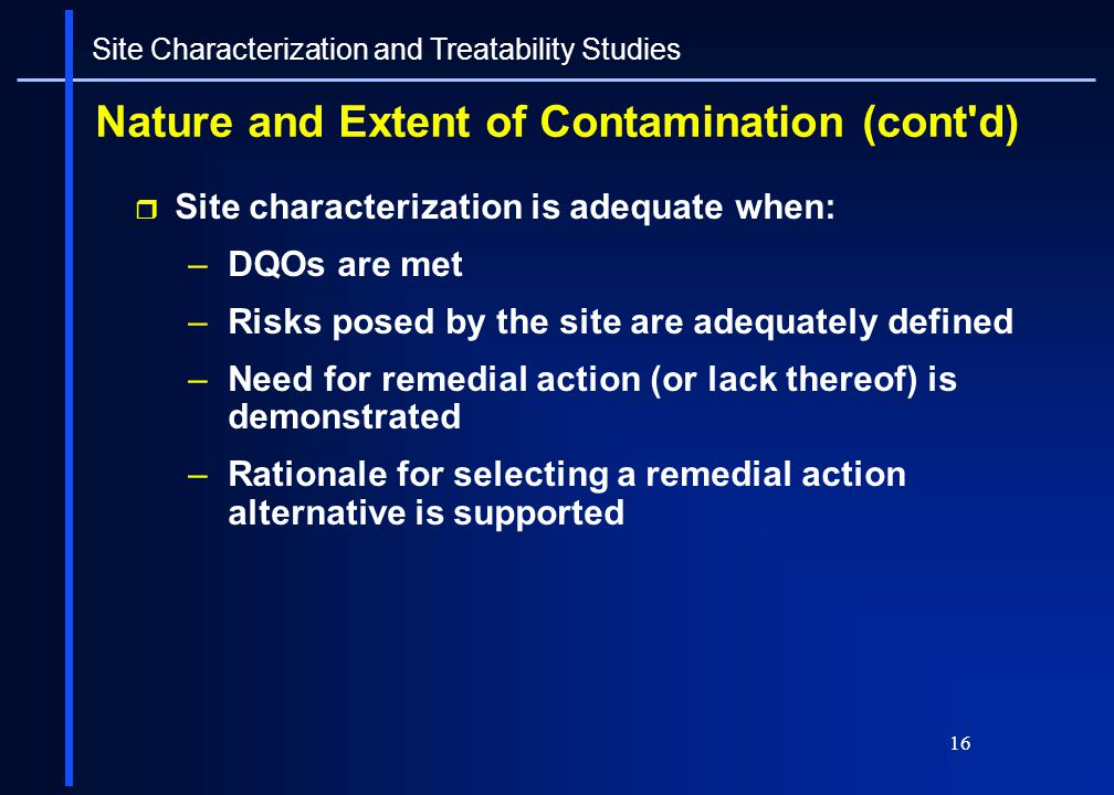 Nature and Extent of Contamination (cont d)
