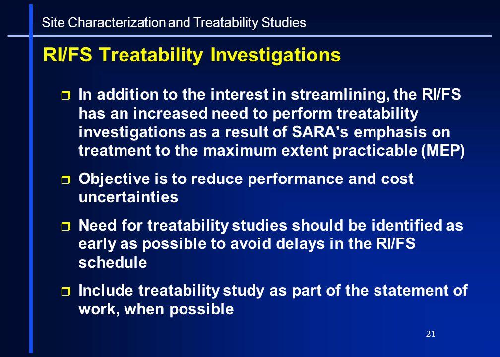 RI/FS Treatability Investigations