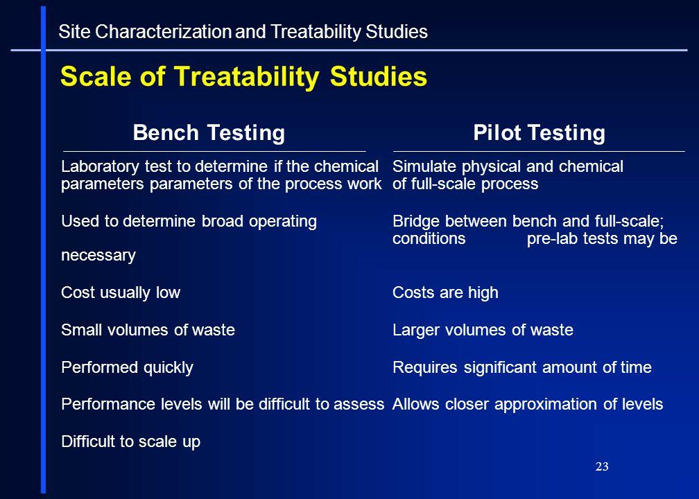 Scale of Treatability Studies
