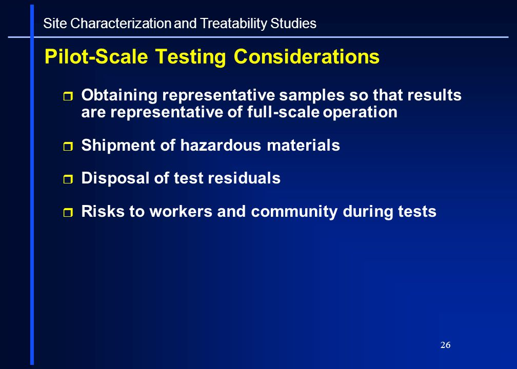 Pilot-Scale Testing Considerations