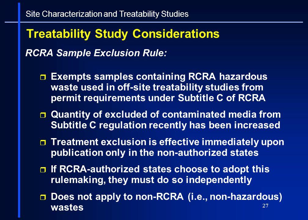 Treatability Study Considerations