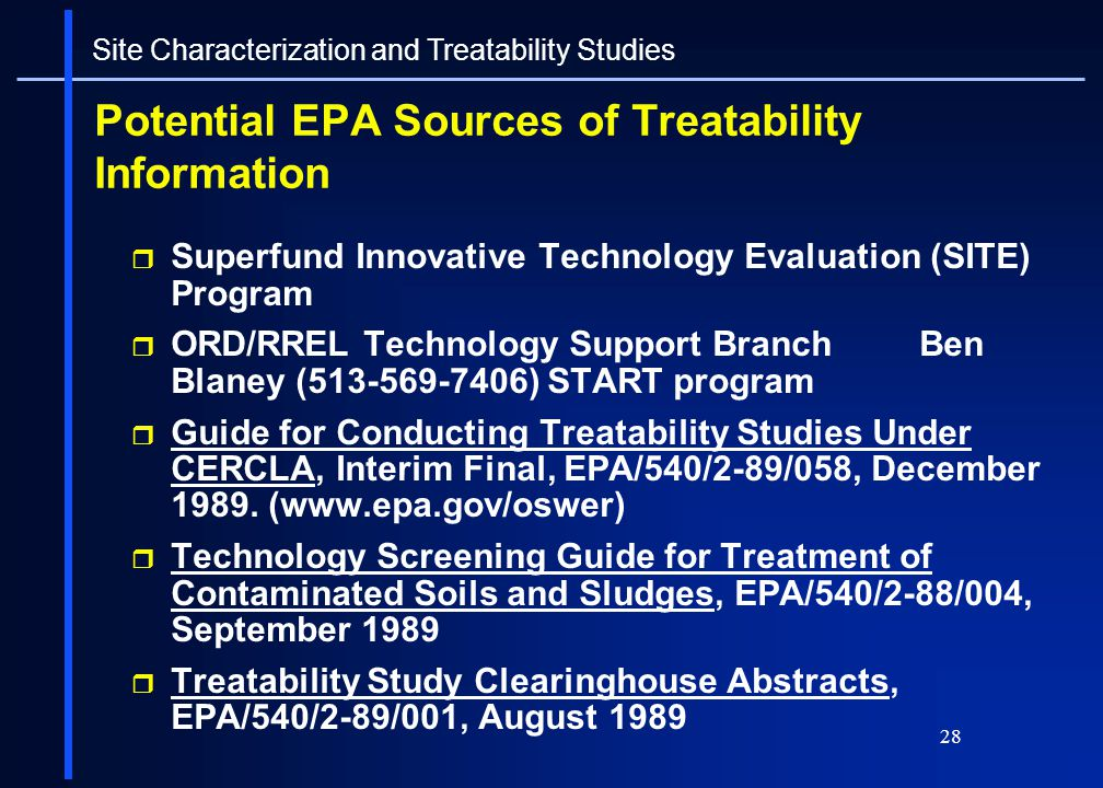 Potential EPA Sources of Treatability Information