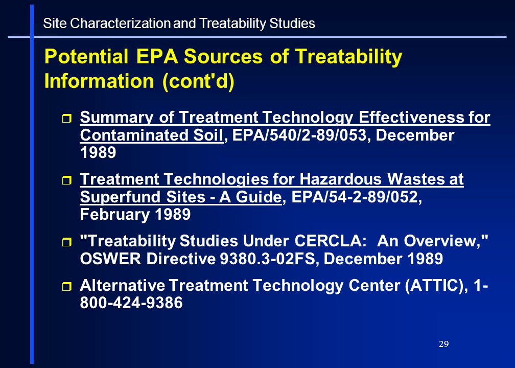 Potential EPA Sources of Treatability Information (cont d)