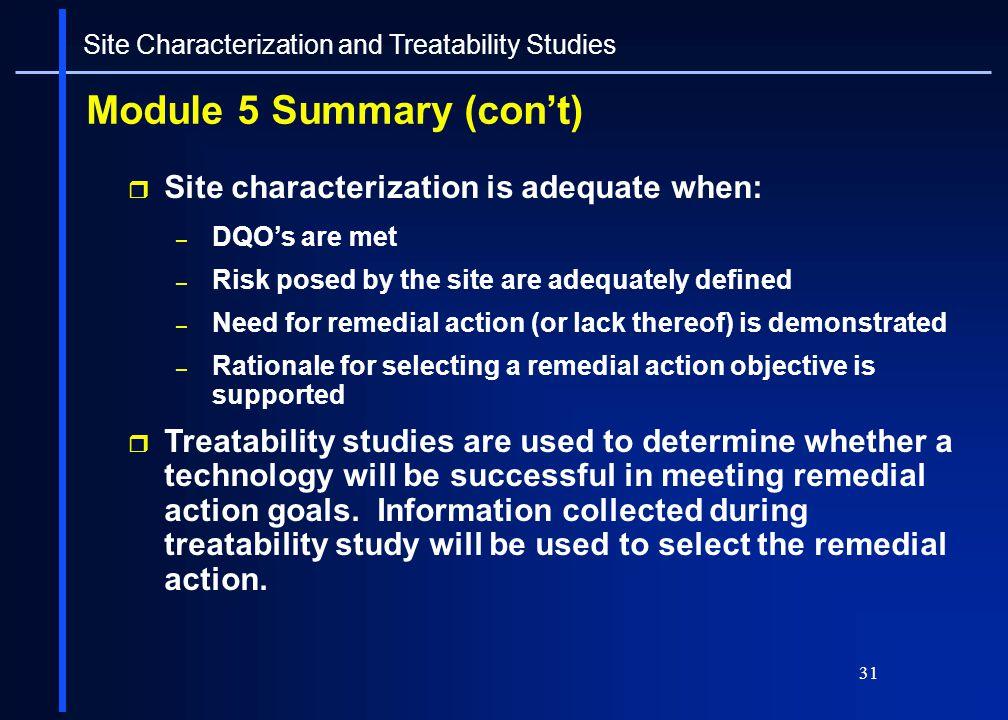 Module 5 Summary (con't)