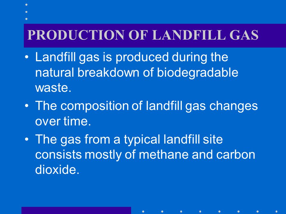PRODUCTION OF LANDFILL GAS