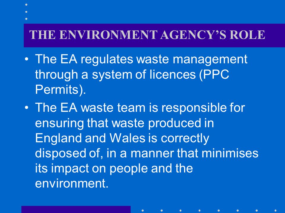 THE ENVIRONMENT AGENCY'S ROLE