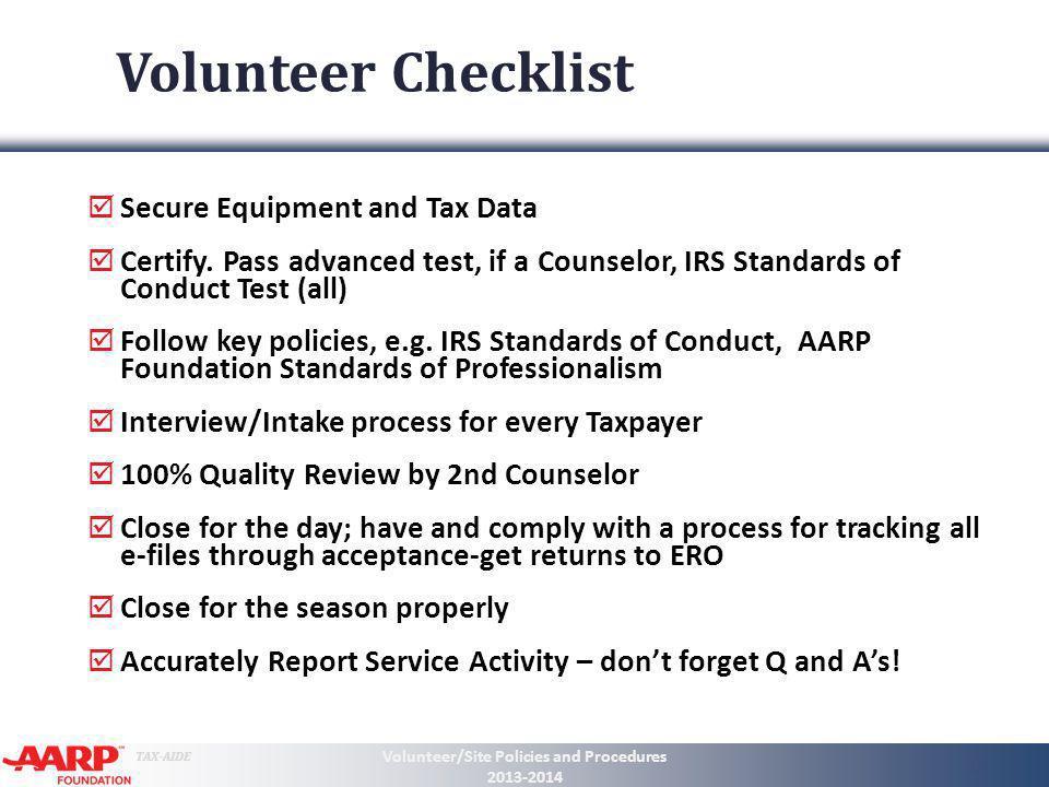 Volunteer/Site Policies and Procedures 2013-2014