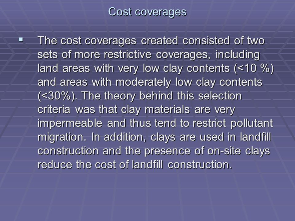 Cost coverages