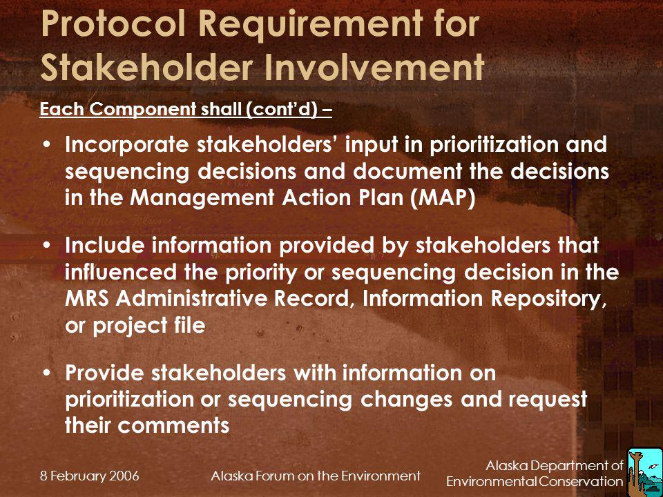 Protocol Requirement for Stakeholder Involvement