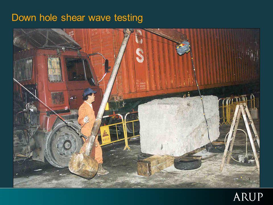 Down hole shear wave testing