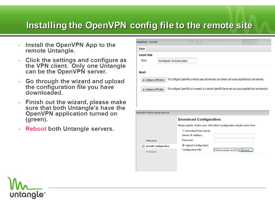 Installing the OpenVPN config file to the remote site