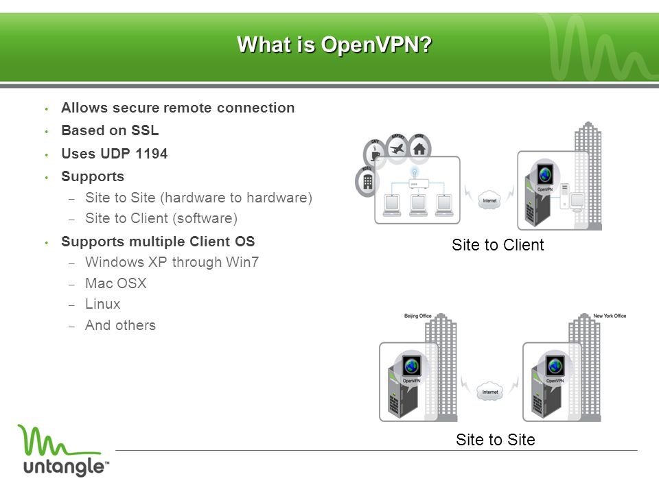 What is OpenVPN ‏ Site to Client Site to Site