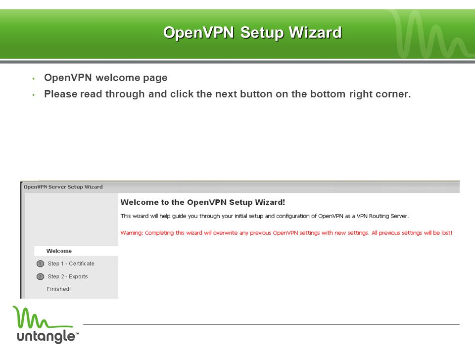 ‏ OpenVPN Setup Wizard ‏ OpenVPN welcome page