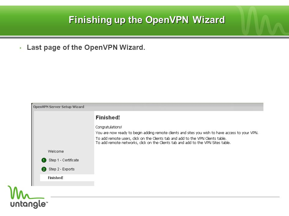 Finishing up the OpenVPN Wizard
