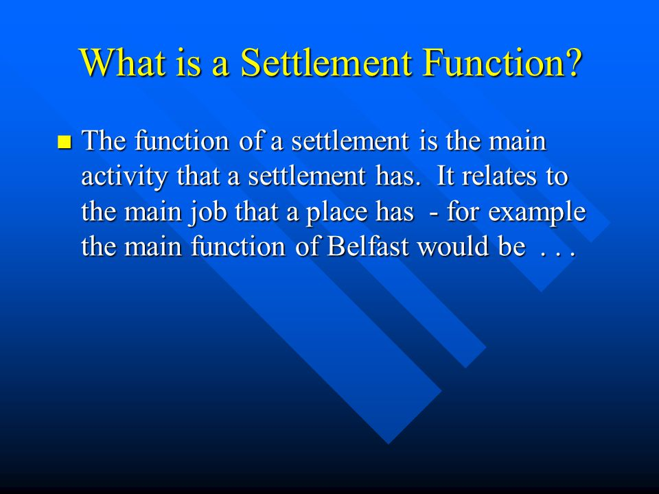 What is a Settlement Function