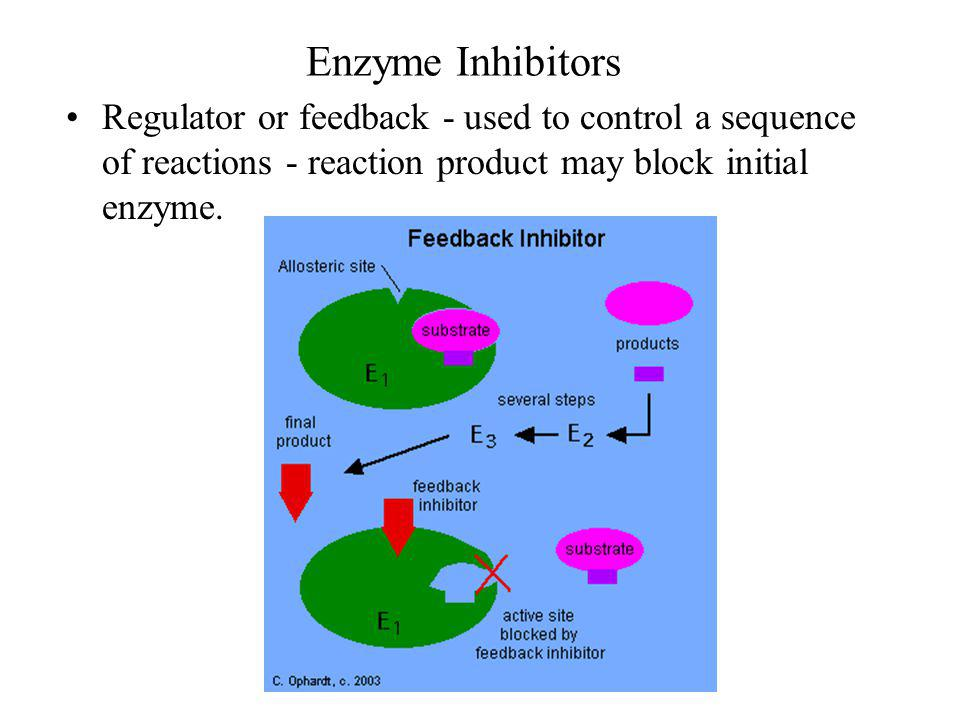Enzyme Inhibitors Regulator or feedback - used to control a sequence of reactions - reaction product may block initial enzyme.