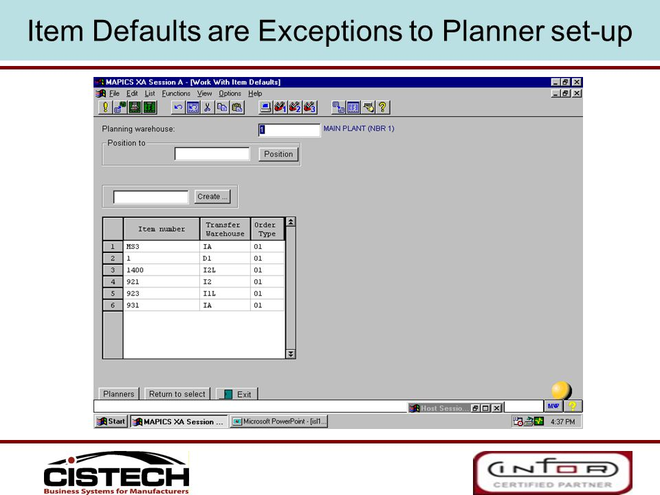 Item Defaults are Exceptions to Planner set-up