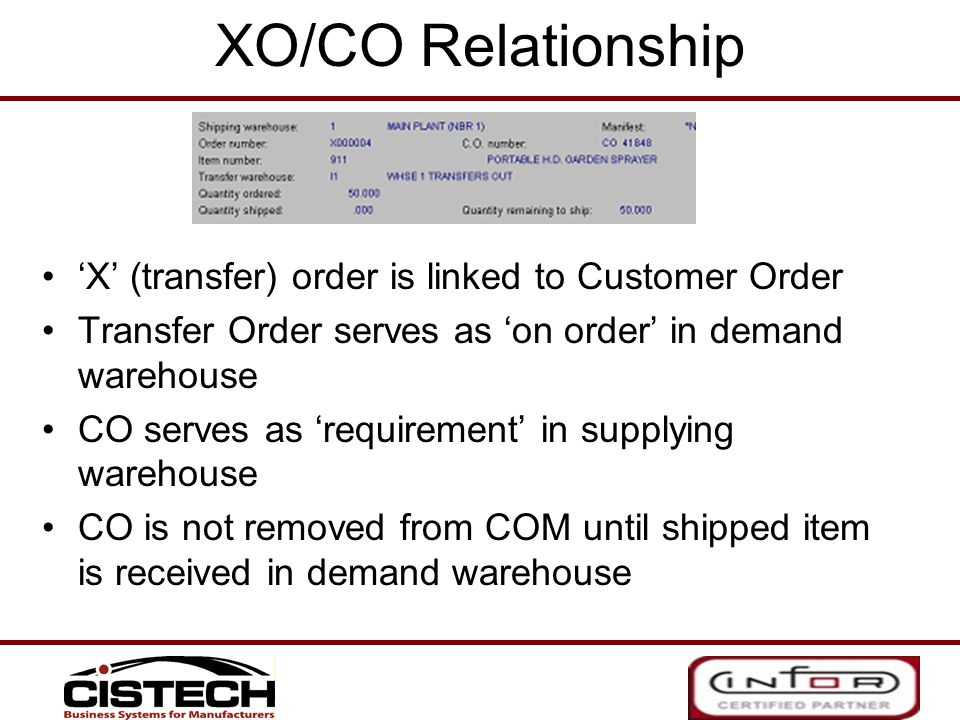 XO/CO Relationship 'X' (transfer) order is linked to Customer Order