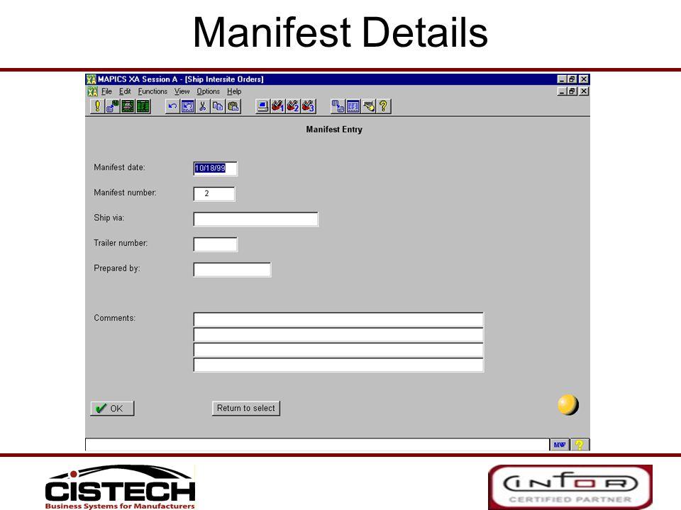 Manifest Details