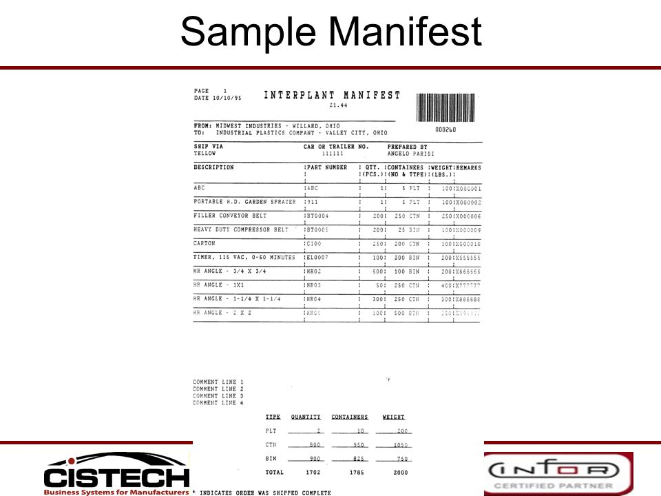 Sample Manifest