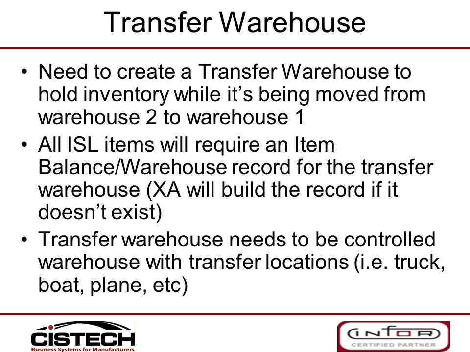Transfer Warehouse Need to create a Transfer Warehouse to hold inventory while it's being moved from warehouse 2 to warehouse 1.
