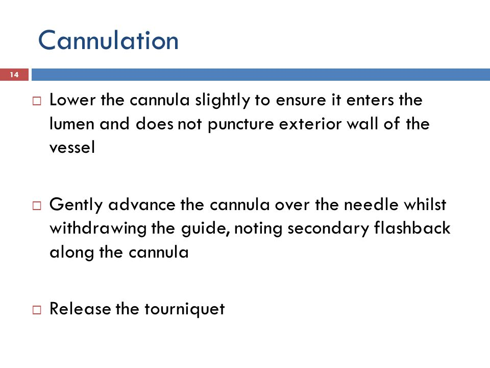 Cannulation Lower the cannula slightly to ensure it enters the lumen and does not puncture exterior wall of the vessel.