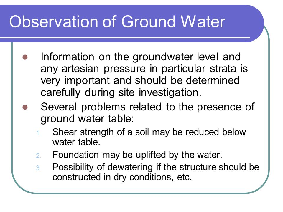 Observation of Ground Water