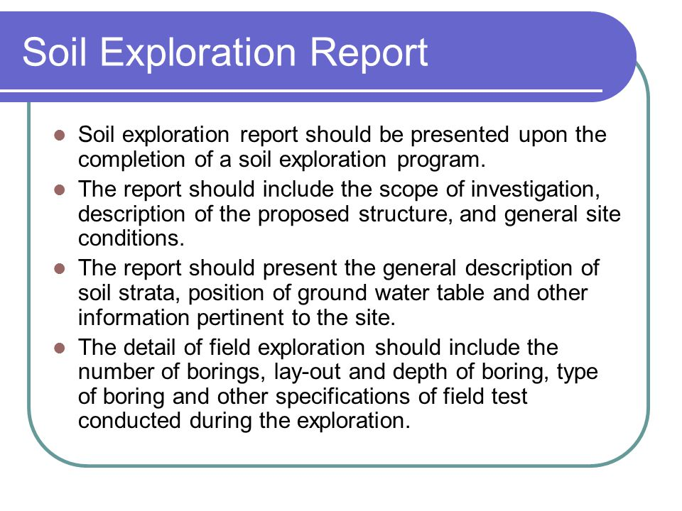 Soil Exploration Report